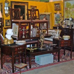 Photo of antiques displayed at the annual Del Mar Antique Show &amp; Sale
