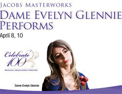 Promotional graphic for Dame Evelyn Glennie's performance at Copley Symphony Hall.