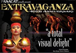 Graphic flyer for PASACAT's 40th Anniversary Celebration- Extravaganza, which is being presented at the California Center for the Arts: Escondido on October 9.