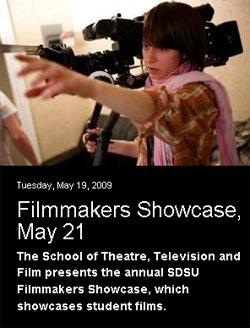 Flyer for the SDSU Filmmakers Showcase on May 20.