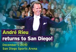 Promotional graphic for the Andre Rieu concert on December 1, 2010 at the San Diego Sports Arena.