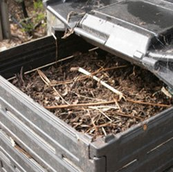 Promotional photo of a compost bin for the workshop taught by Solana Center master composters, at the San Diego Botanic Garden, on January 22, from 10 a.m. to 12 p.m.
