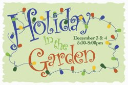Promotional graphic for Holiday in the Water Garden on Friday and Saturday, Dec. 3 and 4, from 5:30 - 8 p.m.