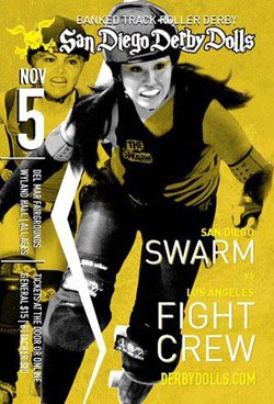 Promotional Graphic for San Diego Derby Dolls Vs. Los Angeles Derby Dolls.