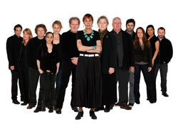 The Old Globe cast of &quot;August: Osage County&quot;  (from left) Robert Maffia, Kelly McAndrew, Joseph Adams, Ronete Levenson, Angela Reed, Robert Foxworth, Lois Markle, Robin Pearson Rose, Guy Boyd, Haynes Thigpen, Carla Harting, Kimberly Guerrero and Todd Cerveris. Tracy Letts&#39; Pulitzer Prize-winning play runs May 7 - June 12, 2011 at The Old Globe. Photo by Henry DiRocco.