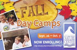 Promotional logo for the Fall Day Camps at The Chula Vista Nature Center.