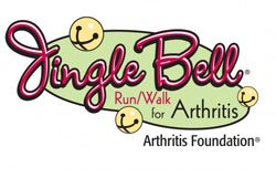 Graphical logo for Jingle Bell Run/Walk For Arthritis.