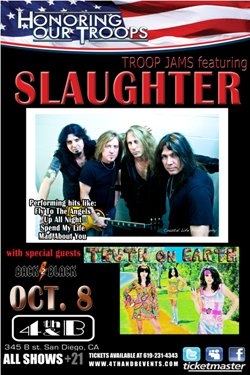 Promotional Graphic for Honoring Our Troops Featuring Slaughter.