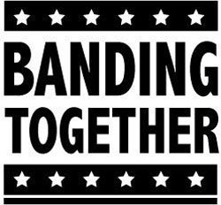 Promotional logo for Banding Together, local non-profit organization that gives music therapy scholarships.