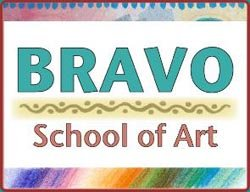 Graphic logo for Bravo School or Art.