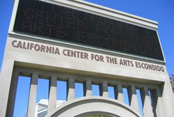 Exterior image of California Center for the Art, Escondido&#39;s marquee. 