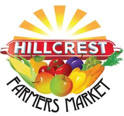Graphic logo for the Hillcrest Farmers Market - every Sunday (rain or shine!) 9a.m. to 2p.m.