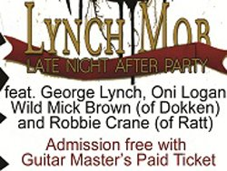Late Night Guitar Master's After Party Featuring Lynch Mob promotional graphic.