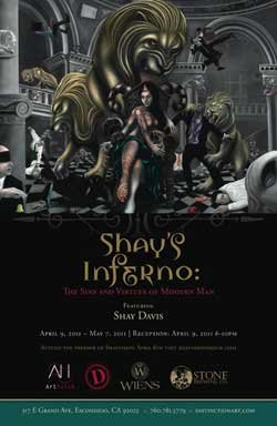 Promotional graphic for a compelling new show featuring the art of Shay Davis entitled &quot;Shay&#39;s Inferno: The Sins and Virtues of Modern Man,&quot; presented by Distinction Gallery and ArtHatch. 