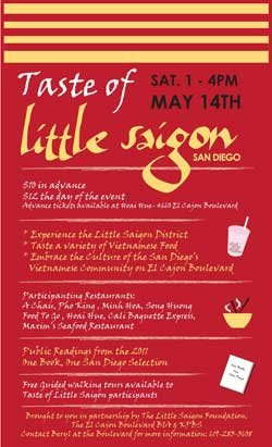 Promotional graphic for the Taste Of Little Saigon event, Saturday, May 14, 2011, 1 p.m. - 4 p.m.