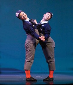 "Promotional image of the California Ballet students playing Tweedle Dee and Tweedle Dumb from ""Alice in Wonderland."""