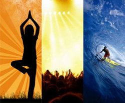 Graphic of Three Waves a Day (Yoga, Music, Surf).