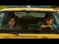 "Still image of Mark Duplass and Aubrey Plaza in the film, ""Safety Not Guaranteed"""