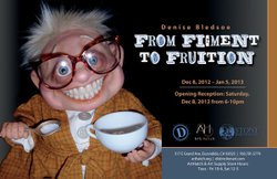 "Promotional graphic for the upcoming art exhibition, ""Figment to Fruition"" presented by Distinction Gallery and ArtHatch."