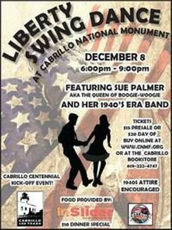 Promotional graphic for the 1940s Liberty Swing Dance at Cabrillo National Monument on December 8th, 2012. Courtesy of Cabrillo National Monument.