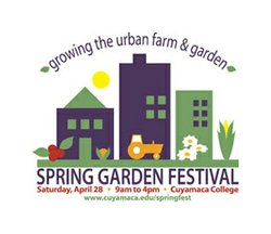 Promotional graphic for the 19th Annual Spring Garden Festival at the Water Conservation Garden at Cuyamaca College in El Cajon, Saturday, April 28 from 9 a.m. to 4 p.m.