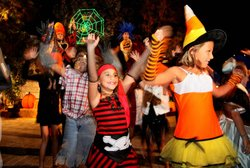 Guests having fun in their Halloween costumes at the Brick-or-Treat Dance Party at LEGOLAND. Photo courtesy of LEGOLAND California®