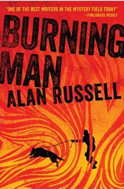 "Promotional book cover of Alan Russell's ""Burning Man""."