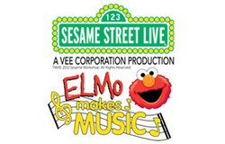 Promotional graphic for &quot;Sesame Street Live: Elmo Makes Music!&quot;