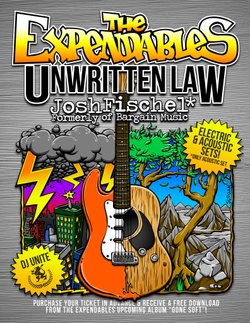 Promotional flyer for the special appearances of The Expendables, Unwritten Law and Josh Fischel at Belly Up Tavern.