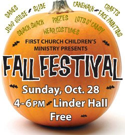 Promotional graphic for the Fall Festival on October 28, 2012 at First United Methodist Church.