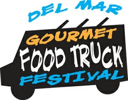 Promotional graphic for the Gourmet Food Truck Festival at the Del Mar Racetrack on July 28th. 