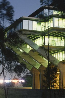 "Exterior image of UC San Diego's Geisel Library where ""The Kazoo: More Than Just An Annoying Party Favor"" is on display beginning January 2- January 30."