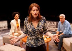 Eva Kaminsky as Margaret (center) with (from left) Nedra McClyde as Kate and R. Ward Duffy as Mike in the San Diego Premiere of David Lindsay-Abaire&#39;s &quot;Good People,&quot; directed by Paul Mullins, Sept. 29 - Oct. 28, 2012 at The Old Globe. Photo by Henry DiRocco.