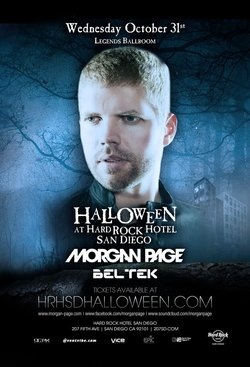 Promotional graphic for Halloween at Hard Rock Hotel San Diego featuring headliner  Morgan Page, Wednesday, October 31, 2012 at 8 p.m. Image courtesy of Hard Rock Hotel