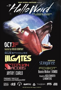 Promotional flyer for Halloweird At Stingaree Nightclub on October 31st.