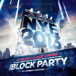 Promotional graphic for the House of Blues New Year's Eve Block Party.