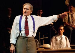 "(from left) Robert Foxworth as Henry Drummond and Dan Amboyer as Bertram Cates in The Old Globe's Shakespeare Festival production of Jerome Lawrence and Robert E. Lee's ""Inherit the Wind,"" directed by Adrian Noble, June 17 - Sept. 25, 2012. Photo by Jeffrey Weiser."