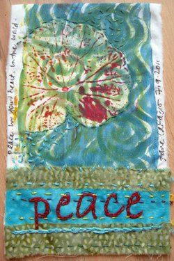 """Peace"" quilt by Jane LaFazio. Courtesy of Jane LaFazio & Oceanside Museum of Art"