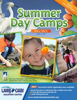 Graphical logo for Living Coast Discovery Center&#39;s Summer Camps from June 4th- July 27th. 