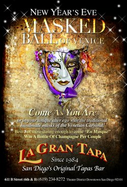 Promotional graphic for the Masked Ball Of Venice - an exclusive New Year's Eve celebrationat La Gran Tapa, December 31, 2012. Courtesy of La Gran Tapa.