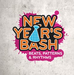 Promotional logo for The New Children's Museum's New Year's Bash on December 28th from 10am-4pm.