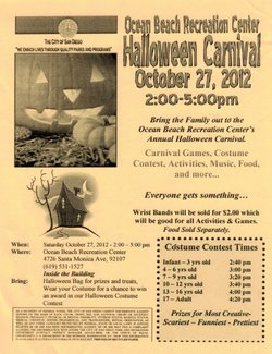 Promotional graphic for Ocean Beach Recreation Center's Annual Halloween Carnival