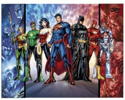 Promotional image of Pop Comics' famous superheros.