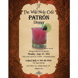Promotional graphic for The Wild Note Cafe Patron Dinner At Belly Up Tavern on June 25th.