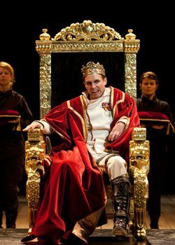 "Jay Whittaker as Richard III (center) with (from left) Danielle O'Farrell and Bree Welch in The Old Globe's Shakespeare Festival production of William Shakespeare's ""Richard III,"" directed by Lindsay Posner, June 3 - Sept. 29, 2012. Photo by Henry DiRocco."