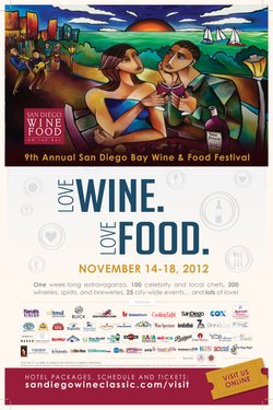 Promotional graphic for the San Diego Bay Wine &amp; Food Festival taking place on November 14th-18th, 2012. 