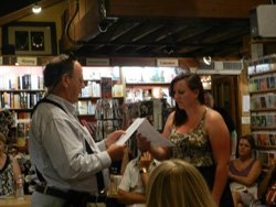 Image of a previous Open Reading at the Upstart Crow Bookstore &amp; Coffeehouse on the first Tuesday of every month. Courtesy of the San Diego Shakespeare Society. 