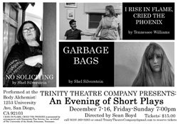 Promotional flyer for Trinity Theatre Company's An Evening of Short Plays, playing December 7-14th at The Body Alchemist.