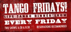 Promotional graphic for Tango Fridays at Pampas Argentine Grill. Courtesy of Pampas Argentine Grill.