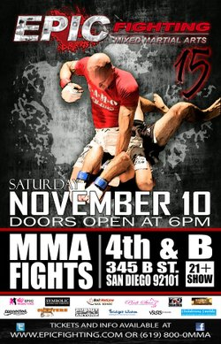 Promotional graphic for Epic Fighting Mixed Martial Arts at the 4th & B on November 10th, 2012. Courtesy of Epic Fighting.